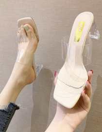 Fashion Creamy-white Thick Heels With Transparent Square Head