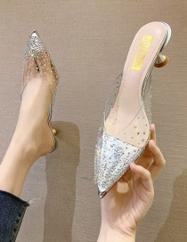 Fashion Silver Transparent Rhinestone Rivet Pointed Toe High-heeled Crystal Slippers