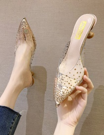 Fashion Golden Transparent Rhinestone Rivet Pointed Toe High-heeled Crystal Slippers