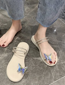 Fashion Beige Butterfly Rhinestone Clip Toe Flat Sandals