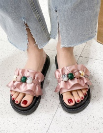 Fashion Pink Beaded Lotus Leaf Flat Bottom Sandals