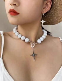 Fashion Gray Highlight Pearl And Diamond Cross Alloy Necklace