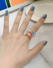 Fashion Transparent Resin Smiley Face Contrast Wide-brimmed Ring