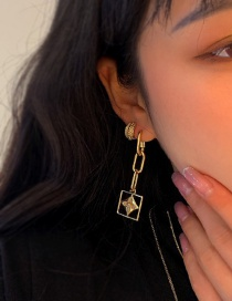 Fashion Earring Small Flower White Mother-of-pearl Gold-plated Thick Chain Square Hollow Necklace Earrings
