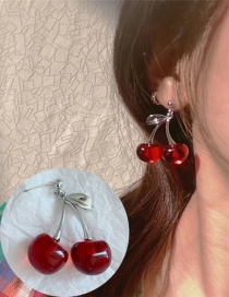 Fashion Red Resin Alloy Cherries Earrings