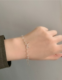 Fashion White Bowknot Crystal String Alloy Resin Bracelet