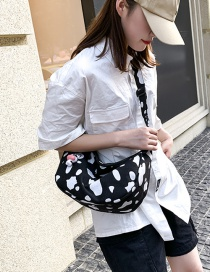 Fashion Black Large Capacity Canvas Cow Print Crossbody Bag