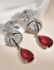 Fashion Red Micro-set Zircon Striped Faucet Drop Pearl Earrings