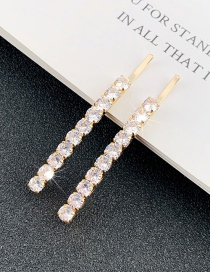 Fashion Golden One Zircon Crystal Square Hairpin