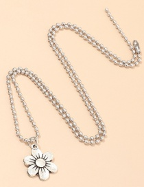 Fashion Silver Round Bead Chain Flower Alloy Necklace