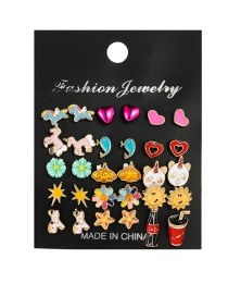 Fashion Color Mixing Dripping Oil Love Animal Flower Alloy Earring Set