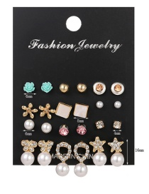Fashion White Alloy Drop Oil And Diamond Flower Butterfly Pearl Earring Set