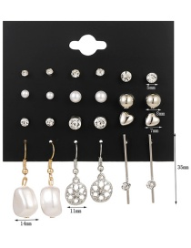 Fashion Silver Alloy Drop Oil And Diamond Flower Butterfly Pearl Earring Set