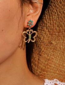 Fashion Golden Butterfly Earrings With Green Diamonds And Flowers