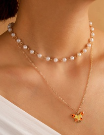 Fashion White Pearl Drop Oil Butterfly Alloy Multilayer Necklace