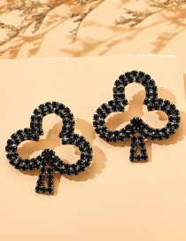 Fashion Black Plum Earrings With Rhinestone Alloy Playing Cards
