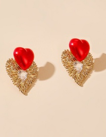 Fashion Red Woven Love Alloy Earrings With Diamonds