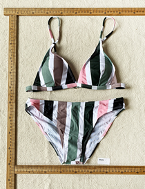 Fashion Color Stripes Striped Sling Swimsuit Suit