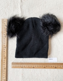 Fashion Black Children's Wool Ball Knitted Hat