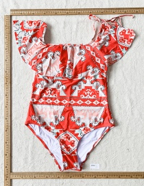 Fashion Color Ruffled Printed One-piece Swimsuit