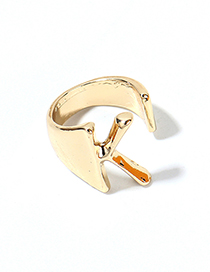 Fashion Kc Gold-k Alloy Letter Wide Edge Cutout Ring