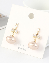 Fashion 14k Gold Real Gold-plated Bow Pearl Earrings