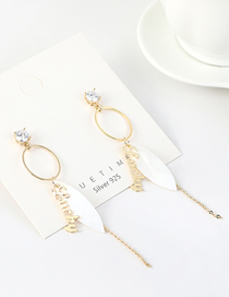 Fashion 14k Gold Real Gold-plated Letter Shell Tassel And Diamond Earrings