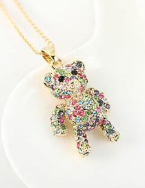Fashion Color Imported Crystal Cady Bear Alloy Necklace