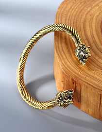 Fashion Kc Gold Lion Head Relief Spiral Opening Bracelet