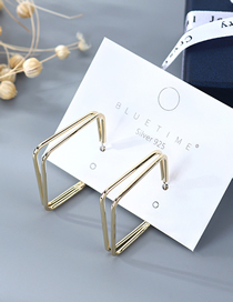 Fashion Golden Gold-plated Square Cutout Earrings