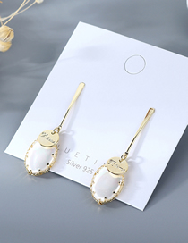 Fashion Golden Gold Plated Alphabet Pearl Geometric Earrings