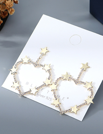 Fashion Golden Gold Plated Love Star Crystal Hollow Earrings