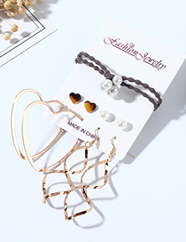 Fashion Color Mixing Resin Heart Shaped Pearl Earrings Hair Set