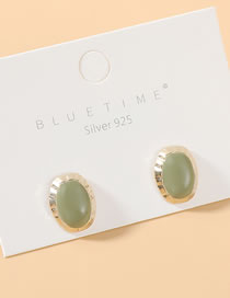 Fashion Light Green True Gold Plated S925 Silver Pin Stud Earrings