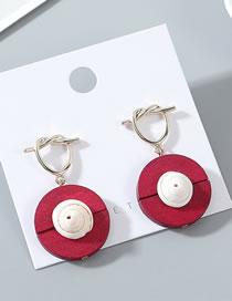 Fashion Red Wood Shell Earrings