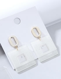 Fashion White Atmospheric Resin Hollow Earrings