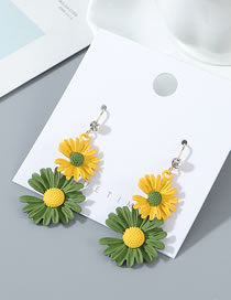 Fashion Yellow+green Small Wrinkle Chrysanthemum Earrings