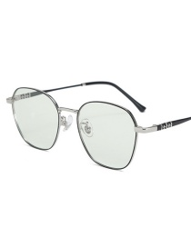 Fashion Black Silver Frame-after Changing Color Anti-blue-light And Anti-radiation Flat Mirror Color Changing Glasses Frame
