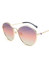 Fashion Gold Frame Purple Pink White Round Cat Eye Gradient Sunglasses