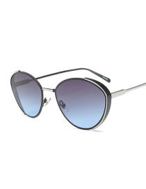 Fashion Black Silver Frame On Gray And Blue Cat Eye Alloy Gradient Sunglasses