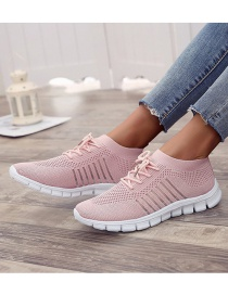 Fashion Pink Mesh Breathable Lace-up Wedge Sneakers