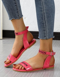Fashion Rose Red Flat Buckle Sandals