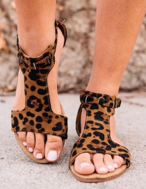 Fashion Leopard Print Flat Open Toe Leopard Sandals