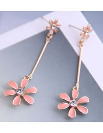 Fashion Pink Dripping Diamond Flower Alloy Earrings