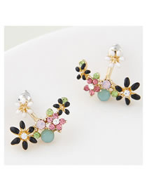 Fashion Color Mixing Dropped Flowers And Diamond Earrings