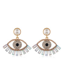 Fashion White Diamond Eyelet Hollow Alloy Stud Earrings