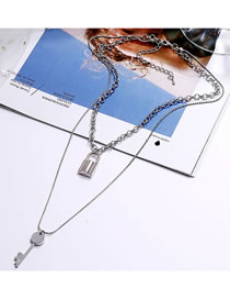 Fashion Silver Key Lock Alloy Multilayer Necklace