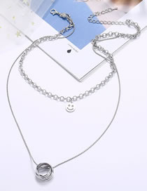Fashion Silver Smiley Hollow Circle Alloy Multilayer Necklace