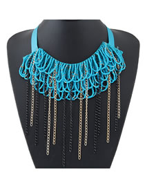 Fashion Blue Fringed Rice Bead Woven Chain Collar Necklace