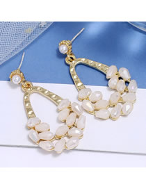 Fashion White Crystal Drop Alloy Hollow Pearl Earrings
